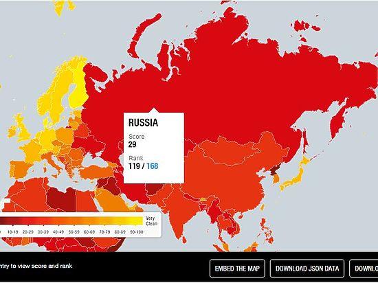 В рейтинге коррупции Россия обогнала Сомали, но отстала от Белоруссии