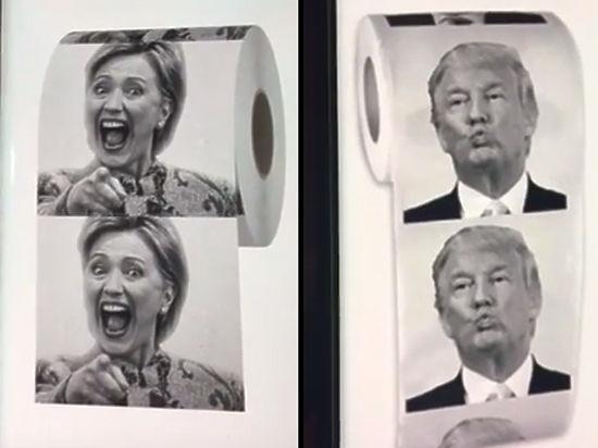 Победа Клинтон над Трампом зафиксирована на туалетной бумаге