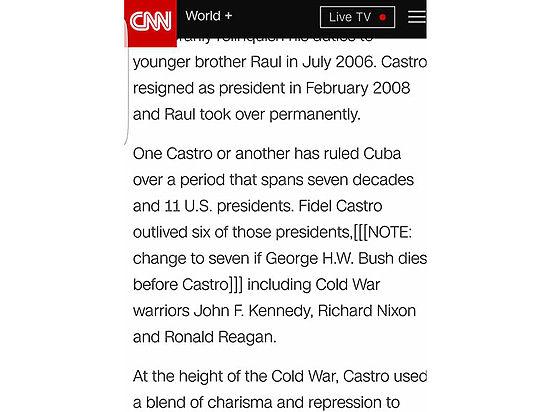 Сайт CNN упомянул смерть Буша в некрологе о Кастро