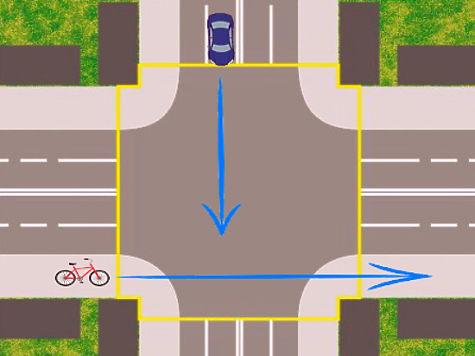 Пересечение перекрестка на велосипеде