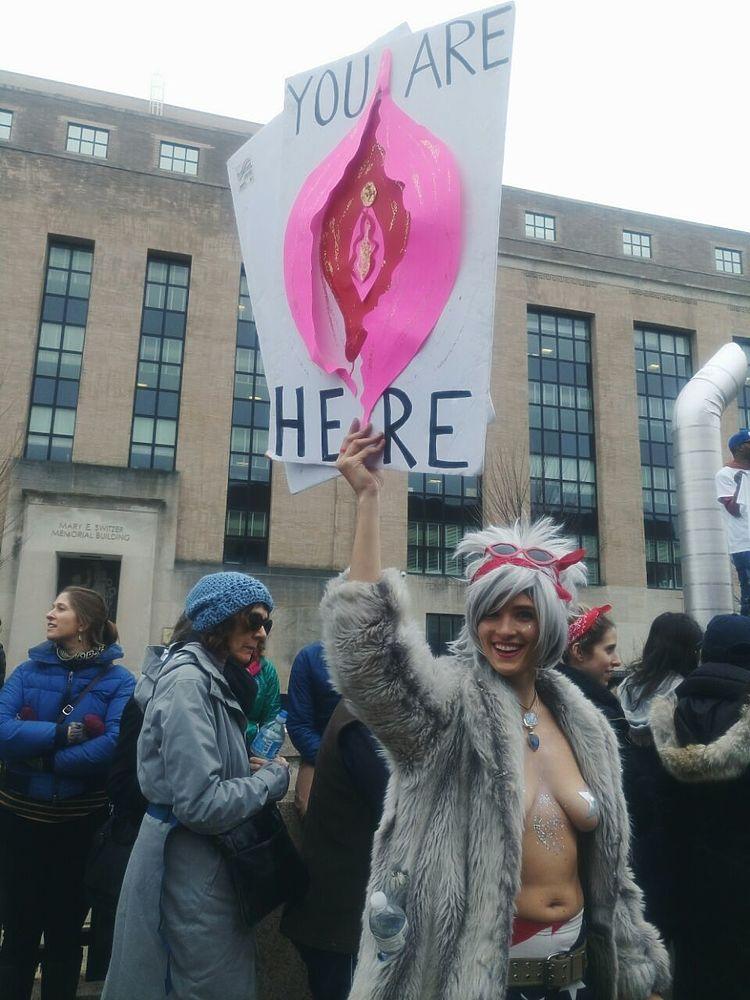 """На следующий день после инаугурации Дональда Трампа в Вашингтоне прошла масштабная акция протеста """"Женский марш"""". Сотни тысяч человек, усмотревшие в лице нового американского президента угрозу для женских прав, вышли на Национальную аллею между Капитолием и Белым домом. Помимо численности, протестующие поразили реквизитом и изобретательностью в области слоганов на плакатах."""