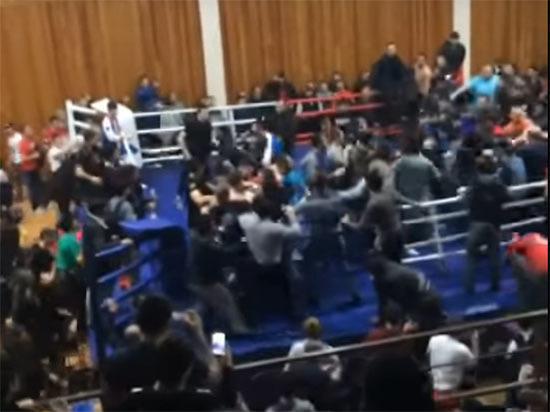 Появилось видео массовой драки болельщиков после боя ММА в Дагестане