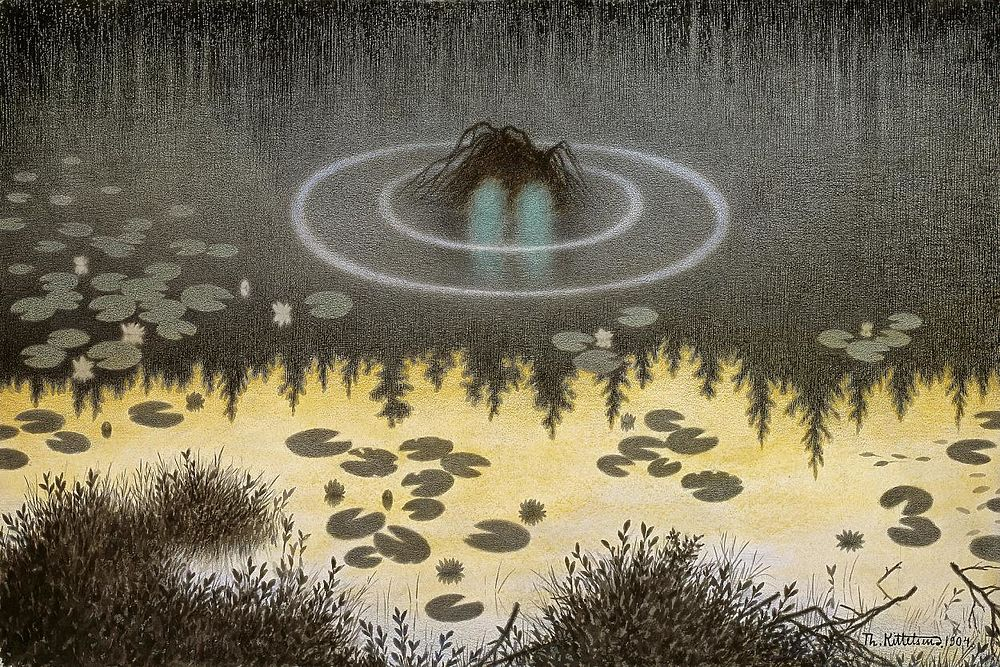 """160 лет назад родился норвежский художник Теодор Киттельсен, чьи произведения пропитаны мистикой. Одни из самых известных произведений Тиллерсена - иллюстрации к книге """"Черная смерть"""", посвященной эпидемии чумы. Художник рисовал мифические существа - троллей, русалок, призрачных животных. Киттельсен скончался в 1914 году - за несколько месяцев до начала Первой мировой войны."""