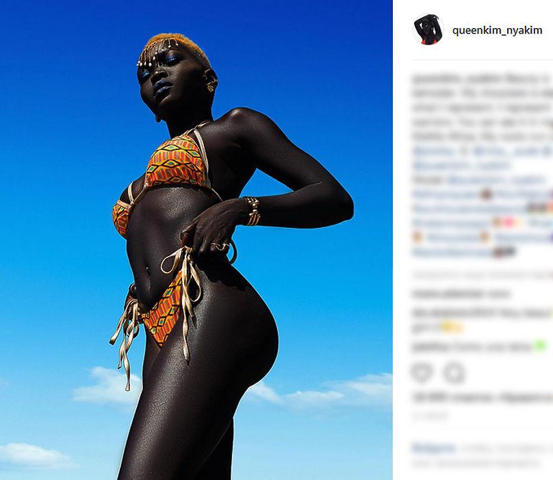 Модель из Южного Судана Ньяким Гатвеч прославилась в интернете благодаря угольно-черному цвету кожи.