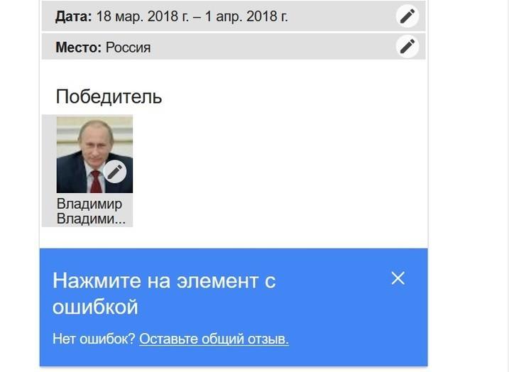 Google преждевременно  назвал В. Путина  победителем выборов 2018 года