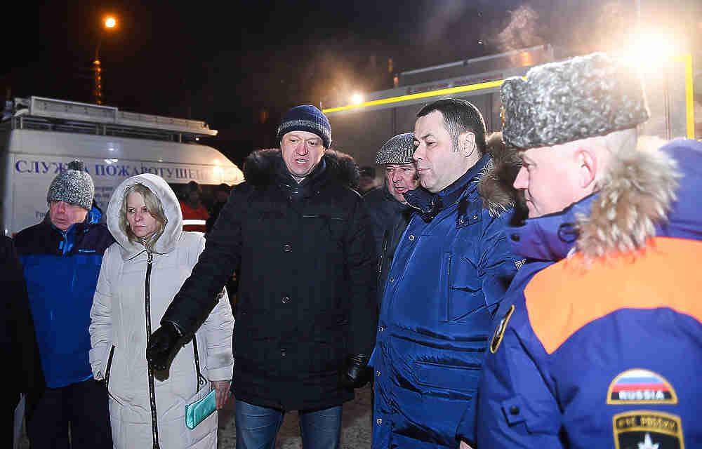 Игорь Руденя провёл оперативное совещание на месте аварии в Заволжском районе Твери