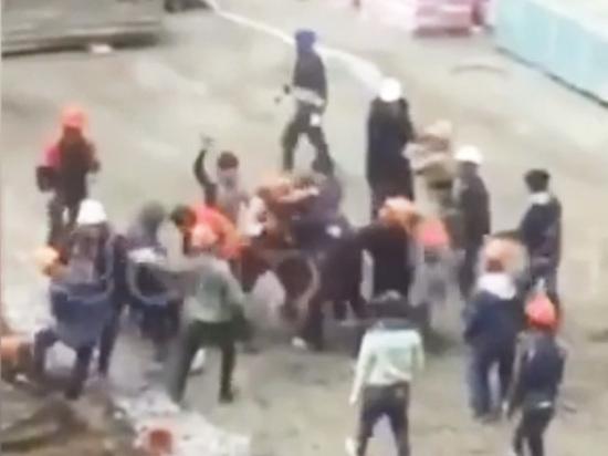 Появилось видео массовой драки краснодарских строителей