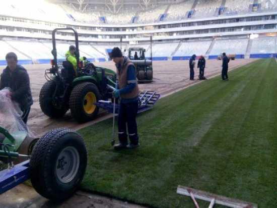 На стадионе «Самара Арена» приступили к укладке газона