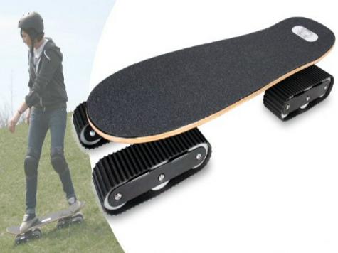Американцы придумали и запустили в производство гусеничный скейтборд. ВИДЕО