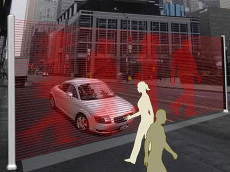 Корейский дизайнер предложил вместо светофора использовать виртуальную стену