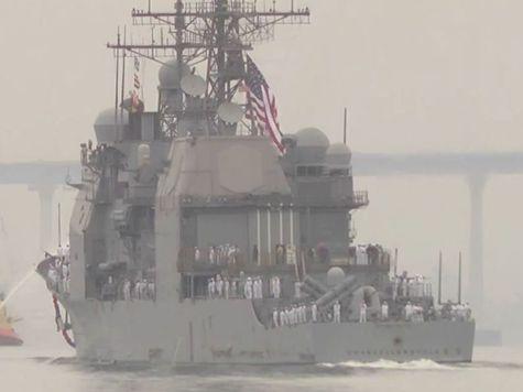 В США беспилотник врезался в ракетный крейсер