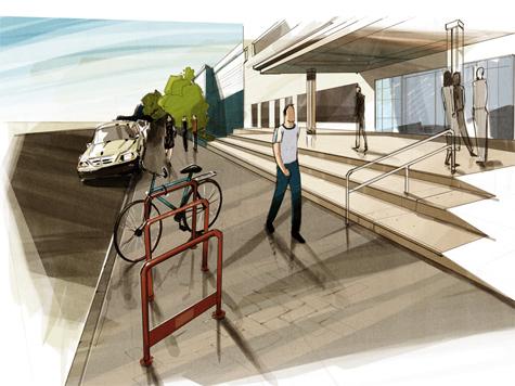 Велосипеды припаркуют на нью-йоркский манер