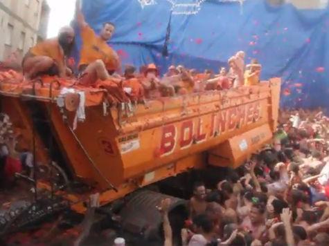 В среду на Пиренеях стартовал ежегодный фестиваль «Томатина»