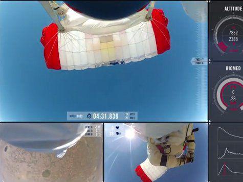 Австрийский парашютист обнародовал видео своего прыжка из стратосферы