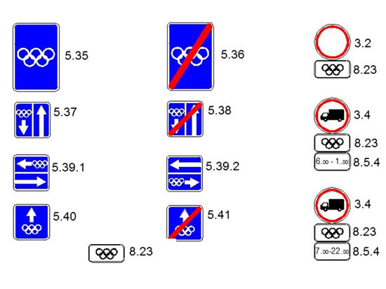 У Олимпиады будут свои дорожные знаки