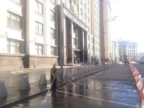 Государственную Думу отмывают после протестов