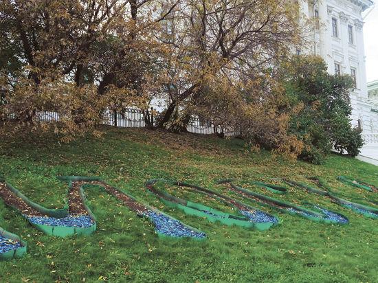 Московский газон, украшенный цветами украинского флага, обещали доработать