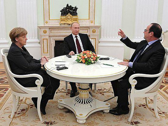 Все в черном, никто не улыбался. Переговоры Путина, Меркель и Олланда закончились ничем